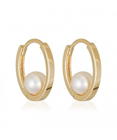 Boucle D'Oreilles  just Pearl Perle Blanche Or Jaune 375/1000