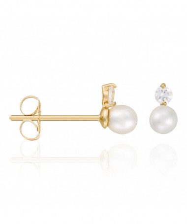 Boucle D'Oreilles  my Pearl Perle Blanche Or Blanc 375/1000