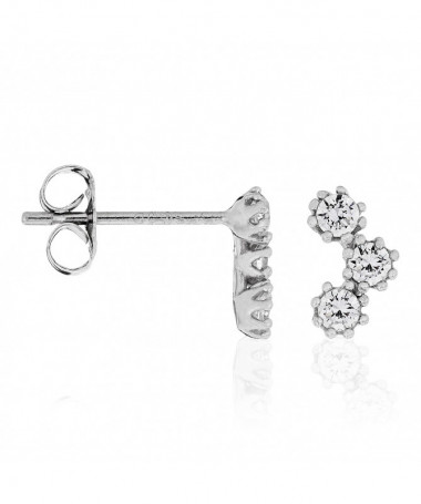 """Boucles D'Oreilles  For Her"""" Or Blanc 375/1000"""""""