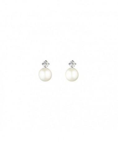 Boucle D'Oreilles  world Perle Blanche Or Blanc 375/1000